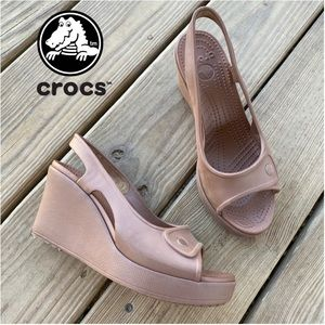 Crocs Havana Slingback Open Toe Wedge Heels 7